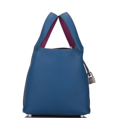 View 3. Thumbnail of Lot 8. Hermès Deep Blue and Anemone Picotin Lock 18cm of Clemence Leather with Palladium Hardware.