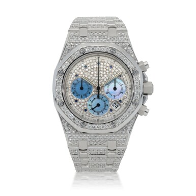 View 1. Thumbnail of Lot 50. Royal Oak, Ref. 25967BC White gold, diamond and sapphire-set chronograph wristwatch with date, bracelet and mother of pearl subsidiary dials Made in 2003 | 愛彼25967BC型號「Royal Oak」白金鑲鑽石及藍寶石計時鍊帶腕錶,備日期顯示及珠母貝小錶盤,2003年製.