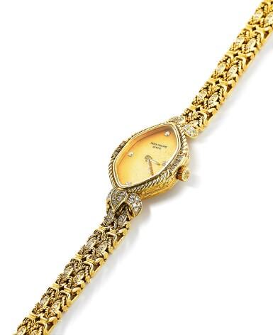 View 2. Thumbnail of Lot 121. Patek Philippe | Montre bracelet de dame or et diamants | Lady's gold and diamond bracelet watch.