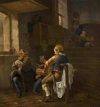 View 1. Thumbnail of Lot 39. JOHANNES NATUS | A tavern scene with peasants smoking and drinking.