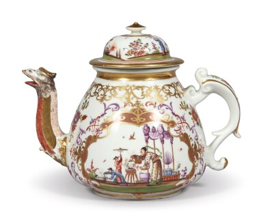 View 4. Thumbnail of Lot 204. A MEISSEN CHINOISERIE TEAPOT AND COVER CIRCA 1723-24.