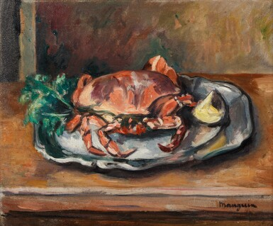 View 1. Thumbnail of Lot 46. Nature morte au crabe.