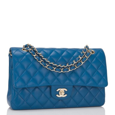 View 2. Thumbnail of Lot 43. Chanel Blue Quilted Medium Classic Double Flap Bag of Lambskin Leather with Light Gold Tone Hardware.