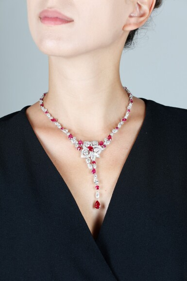 View 4. Thumbnail of Lot 19. GRAFF   RUBY AND DIAMOND NECKLACE.