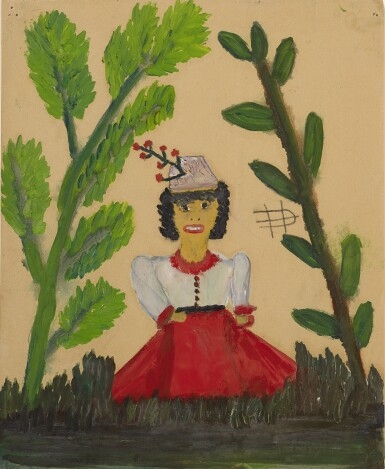 CLEMENTINE REUBEN HUNTER | PORTRAIT OF A WOMAN IN A RED AND WHITE DRESS STANDING IN A PARK