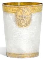 A GERMAN PARCEL-GILT SILVER BEAKER, UNMARKED, CIRCA 1629