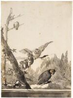GIOVANNI DOMENICO TIEPOLO | OWLS ON A ROCKY PERCH