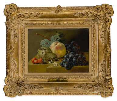 View 2. Thumbnail of Lot 533. Still life with ripening fruits on a stone ledge.