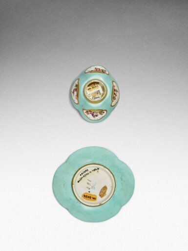 View 3. Thumbnail of Lot 105. A Meissen seladon-ground teabowl and a saucer, the tea bowl Circa 1735, the saucer later .