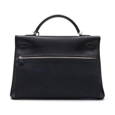 View 4. Thumbnail of Lot 332. Black Kelly Lakis 40cm in Toile and Box Leather with Palladium Hardware, 2008.