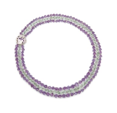 View 2. Thumbnail of Lot 17. AMETHYST, PRASIOLITE AND DIAMOND NECKLACE, MICHELE DELLA VALLE.