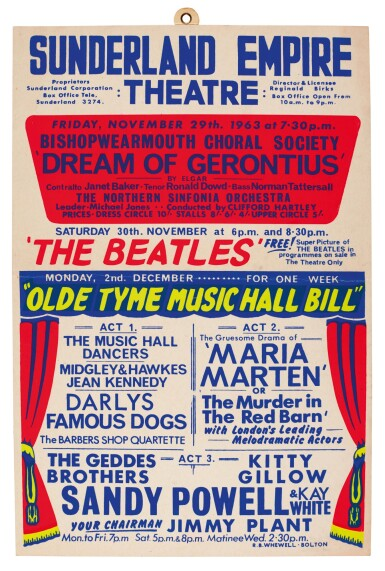THE BEATLES   Window card for their performance at the Sunderland Empire Theatre, 30 November 1963