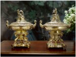 A PAIR OF LOUIS-PHILIPPE SILVER-GILT ENTRÉE DISHES, COVERS, AND LINERS ON GILT-BRONZE WARMING STANDS, CHARLES NICOLAS ODIOT, PARIS, CIRCA 1840-46