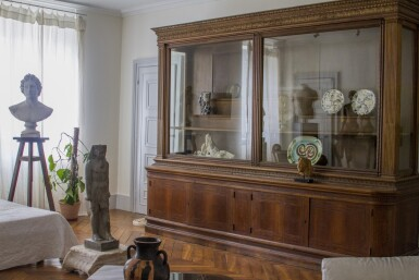 View 4. Thumbnail of Lot 178. An Austrian parcel-gilt intarsia inlaid walnut display cabinet, late 19th century.