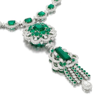 View 2. Thumbnail of Lot 38. Emerald and diamond necklace.