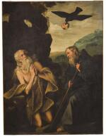 SPANISH SCHOOL, FIRST HALF OF THE 17TH CENTURY | Saint Anthony visiting Saint Paul the hermit