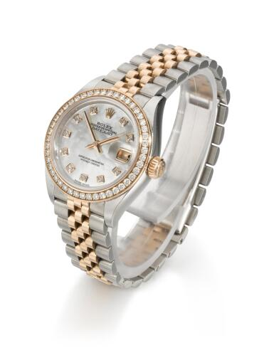 ROLEX | DATEJUST, REFERENCE 279381RBR  STAINLESS STEEL AND PINK GOLD DIAMOND-SET WRISTWATCH WITH MOTHER-OF-PEARL DIAL, DATE AND BRACELET,  CIRCA 2016