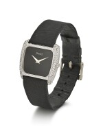 PIAGET   REFERENCE 94585, A WHITE GOLD AND DIAMOND-SET WRISTWATCH WITH ONYX DIAL, CIRCA 1980