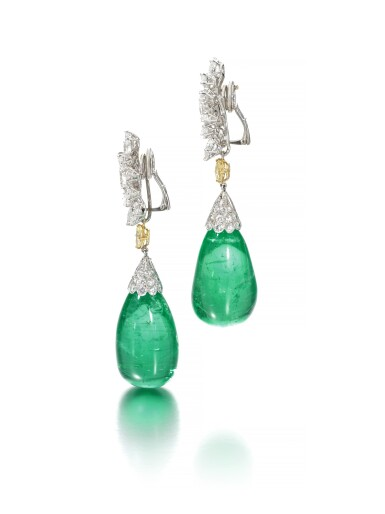 View 2. Thumbnail of Lot 107. Harry Winston | Pair of impressive emerald and diamond ear clips.