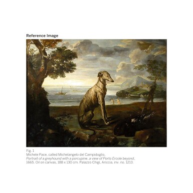 View 2. Thumbnail of Lot 17. MICHELE PACE, CALLED MICHELANGELO DEL CAMPIDOGLIO   Portrait of a black and white greyhound belonging to the Chigi family, standing in a mountainous landscape   米謝爾・佩斯 - 或稱米開朗基羅・德・坎皮多里奧  《基吉家族之黑白色獵犬站於山景中的肖像》.