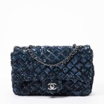 Dark Blue and Black Classic Single Flap in Quilted Leather and Sequins with Ruthenium Hardware, 2012-2013