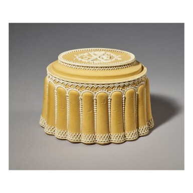 A WEDGWOOD CANEWARE 'CONCEIT' MODEL OF A CAKE LATE 18TH CENTURY