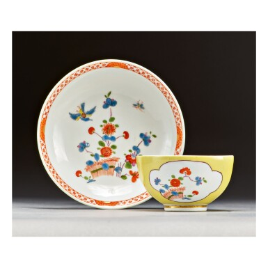 A MEISSEN YELLOW-GROUND TEABOWL AND SAUCER CIRCA 1735