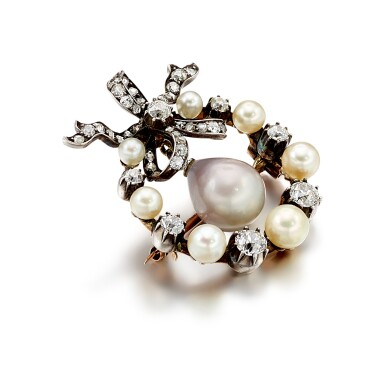 View 3. Thumbnail of Lot 9009. Natural Pearl and Diamond Brooch, 19th Century | 天然海水珍珠 配 鑽石 胸針, 19世紀.