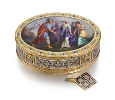 View 1. Thumbnail of Lot 15. A GOLD AND ENAMEL SNUFF BOX WITH MUSIC AND AUTOMATON, GUIDON, RÉMOND, GIDE, GENEVA, 1792-1801.