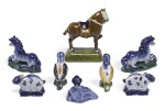 A GROUP OF DUTCH DELFT POLYCHROME AND BLUE AND WHITE MODELS OF ANIMALS | 18TH CENTURY