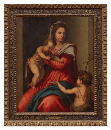 View 2. Thumbnail of Lot 24. FOLLOWER OF ANDREA DEL SARTO | MADONNA AND CHILD WITH THE INFANT SAINT JOHN THE BAPTIST.