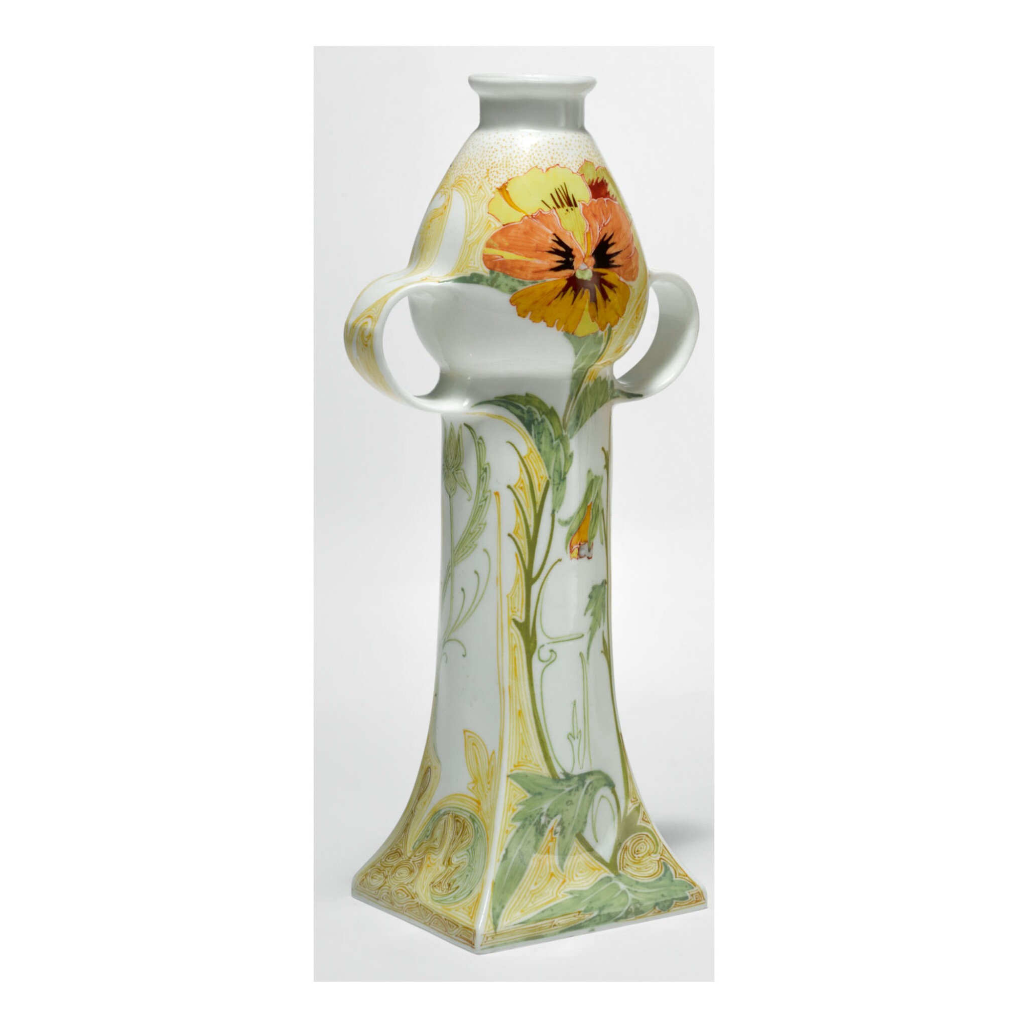 """View full screen - View 1 of Lot 122. ROZENBURG   TWO-HANDLED """"PANSY AND SPARROW"""" VASE."""