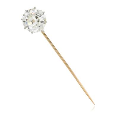View 1. Thumbnail of Lot 11. Diamond stick pin, late 19th century.