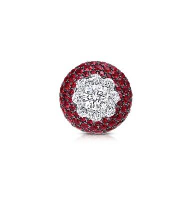 View 2. Thumbnail of Lot 51. GRAFF | RUBY AND DIAMOND RING 格拉夫 | 紅寶石配鑽石戒指.