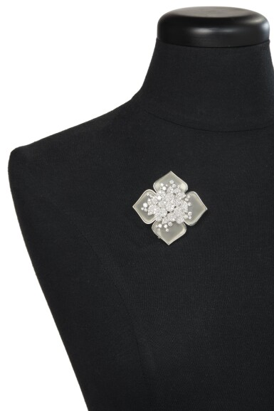 "View 4. Thumbnail of Lot 23. ROCK CRYSTAL AND DIAMOND ""HELLEBORE"" CLIP-BROOCH, VAN CLEEF & ARPELS, FRANCE."