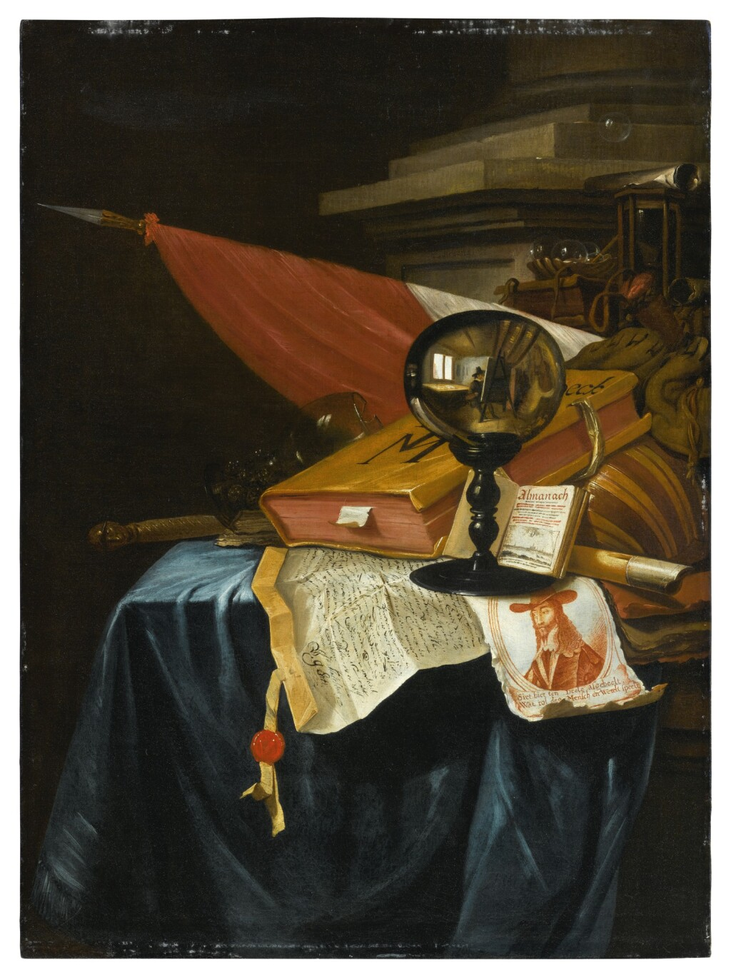 VINCENT LAURENSZ. VAN DER VINNE I   A VANITAS STILL LIFE WITH A CRYSTAL BALL REFLECTING AN IMAGE OF THE ARTIST AT HIS EASEL, A BOOK, A LUTE, A FLAG, A CHIPPED ROEMER, A FLUTE, A BATON, AN HOURGLASS, AN OPEN BOOK SHOWING A VIEW OF ANTWERP, AN ENGRAVED PORT