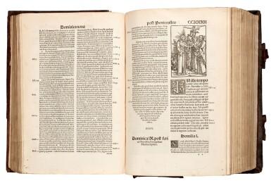View 2. Thumbnail of Lot 110. Dutch Prototypographer, Inventory, single sheet, [Utrecht, 1460s], in binding of Eck, Homiliarius, 1536-1540.