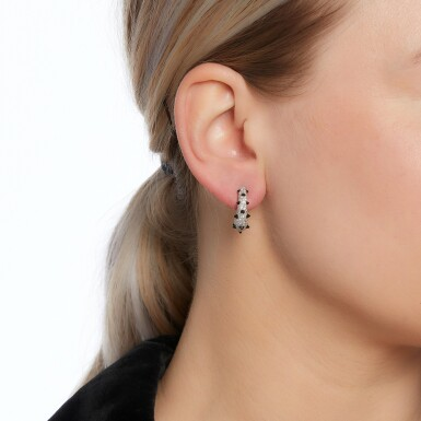 View 4. Thumbnail of Lot 42. Pair of onyx and diamond earrings.