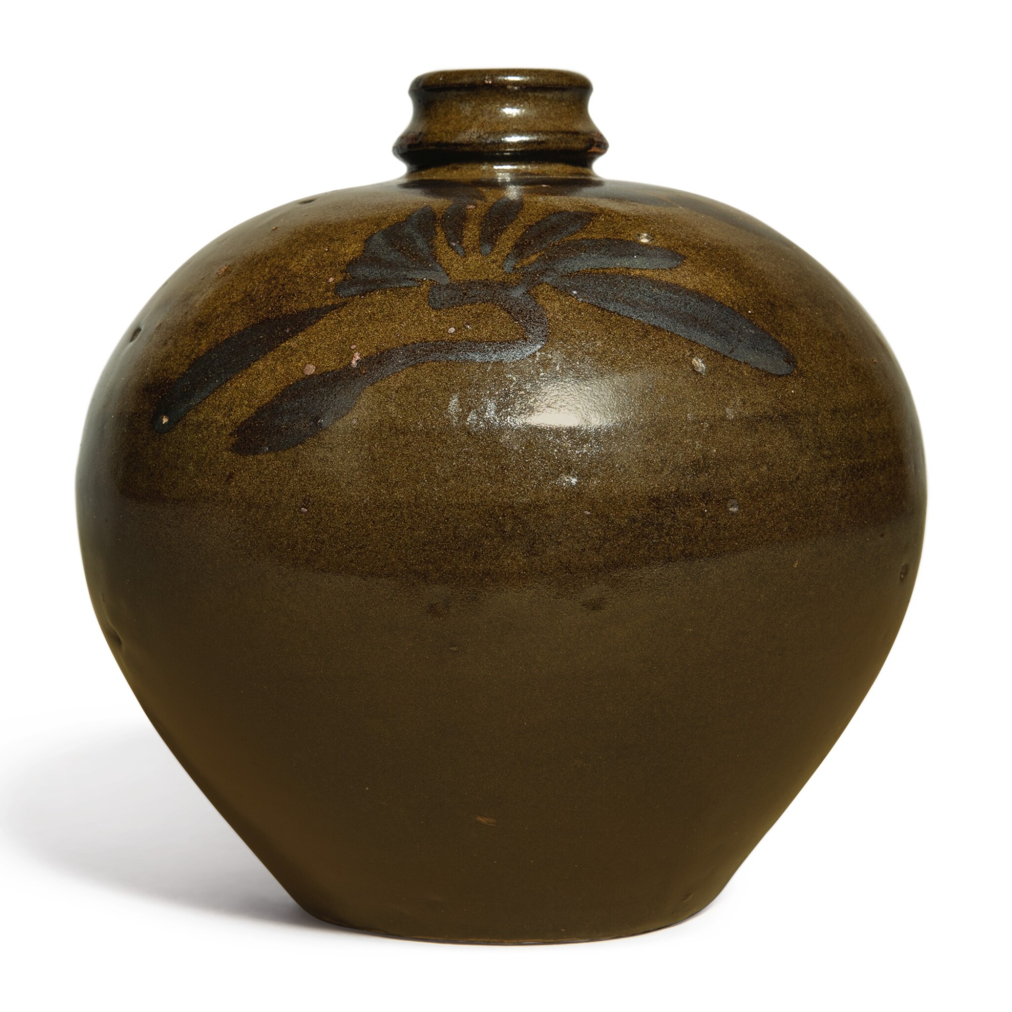 View full screen - View 1 of Lot 108. An iron-brown-decorated teadust-glazed vase, Jin dynasty | 金 茶葉末釉鐵鏽花紋小口瓶.