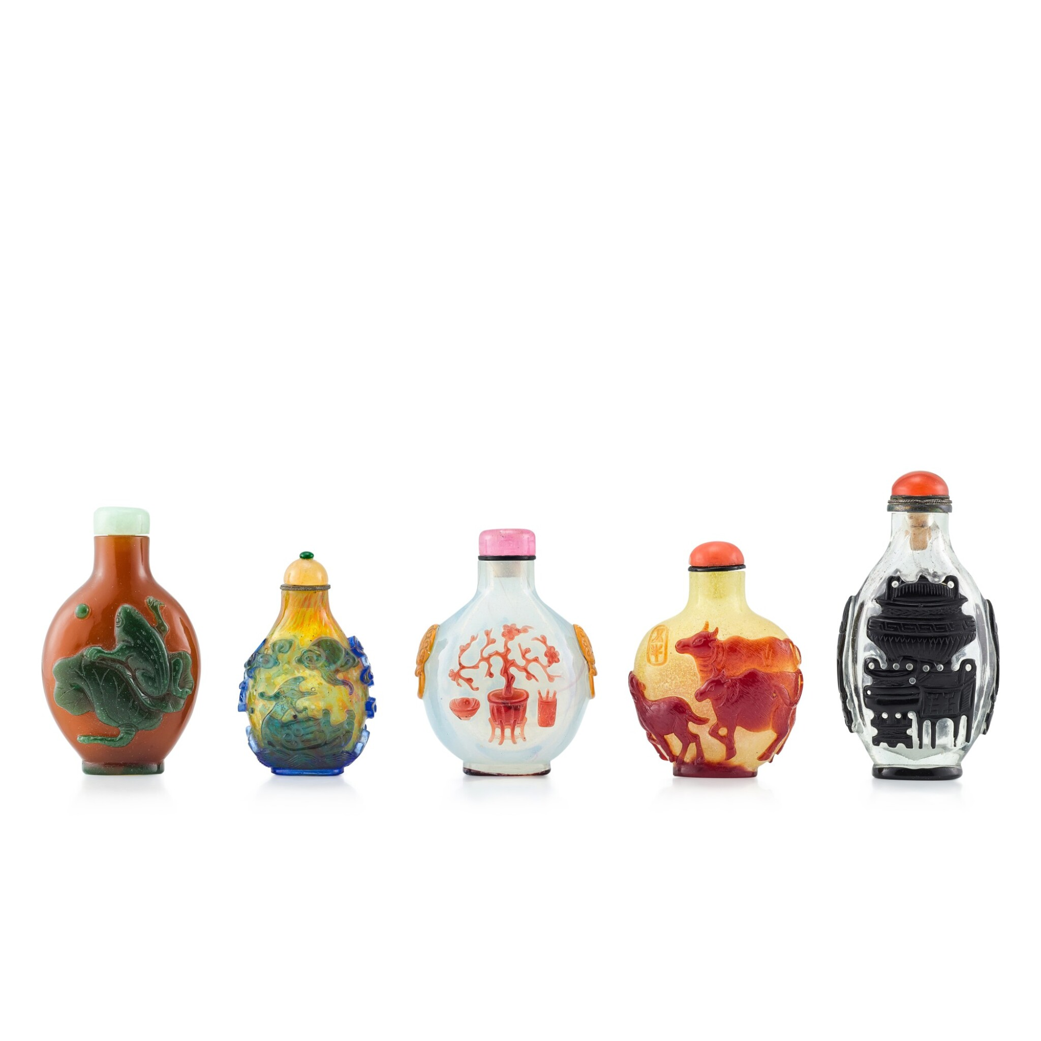 View 1 of Lot 3072. Five Overlay Glass Snuff Bottles Qing Dynasty, 18th - 19th Century | 清十八至十九世紀 雙色套料鼻煙壺五件.