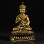 A SILVER-INLAID COPPER-ALLOY FIGURE OF NYINGMAPA LAMA TIBET, 16TH/17TH CENTURY   十六/十七世紀 藏傳銅錯銀寧瑪派喇嘛坐像