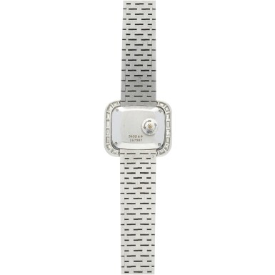 View 5. Thumbnail of Lot 98. REFERENCE 3655A6 A LADY'S WHITE GOLD BRACELET WATCH WITH DIAMOND AND SAPPHIRE-SET BEZEL, CIRCA 1970.