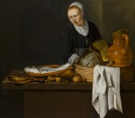 A kitchen scene with a maid standing by a table laden with fish