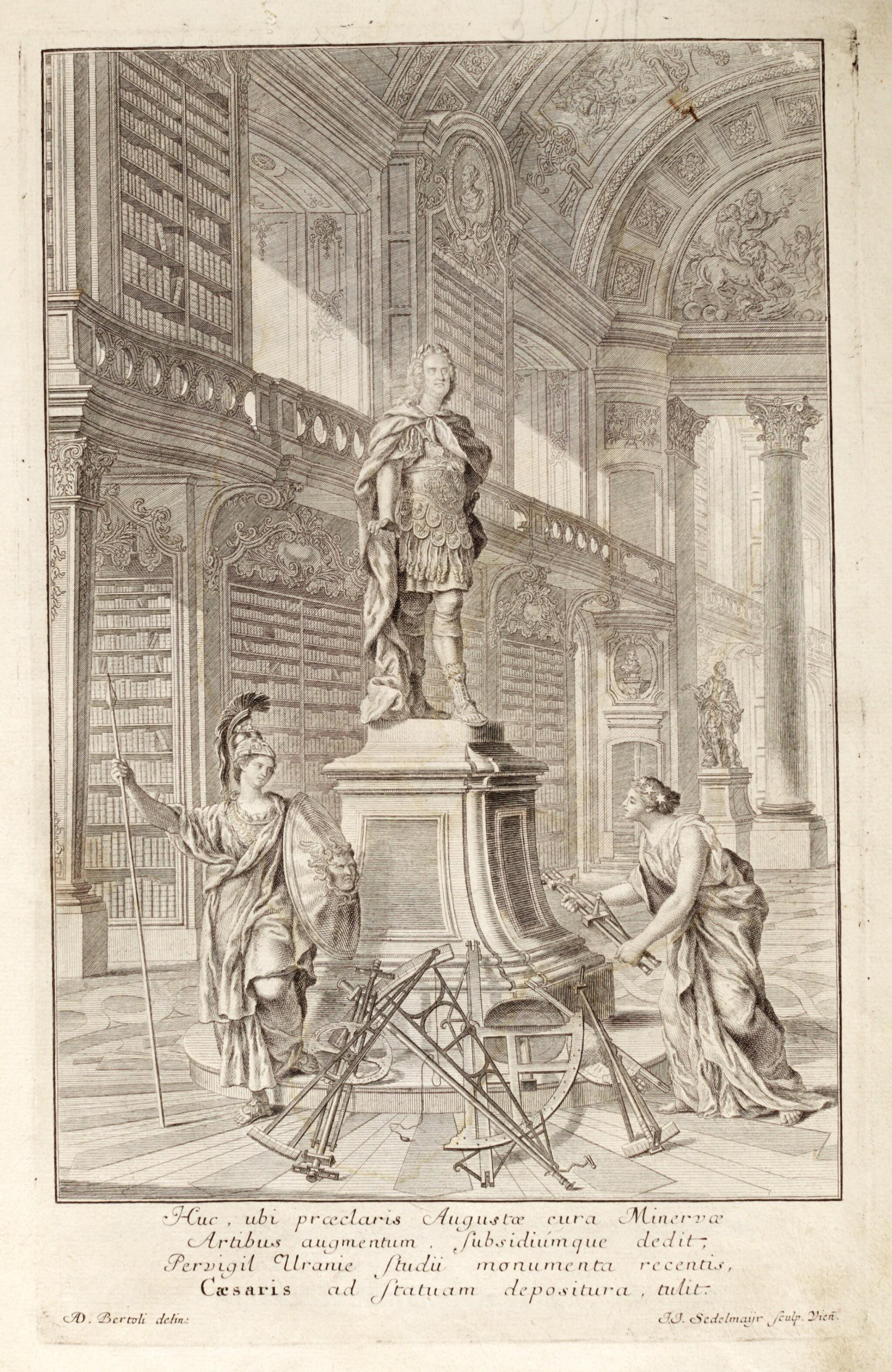 View full screen - View 1 of Lot 218. Marinoni, De astronomica specula domestica, Vienna, 1745, contemporary vellum.