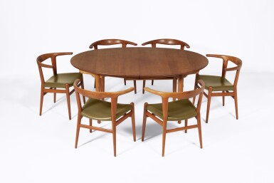 """View 3. Thumbnail of Lot 68. Eight """"Bullhorn"""" Dining Chairs."""
