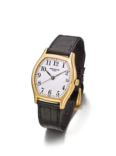 PATEK PHILIPPE | REF 5030R,  A PINK GOLD TONNEAU FORM AUTOMATIC CENTER SECONDS WRISTWATCH WITH DATE MADE IN 1995