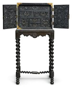 A HIGH-RELIEF CARVED EBONY TABLE CABINET, PROBABLY COROMANDEL COAST OR BATAVIA, LATE 17TH/18TH CENTURY