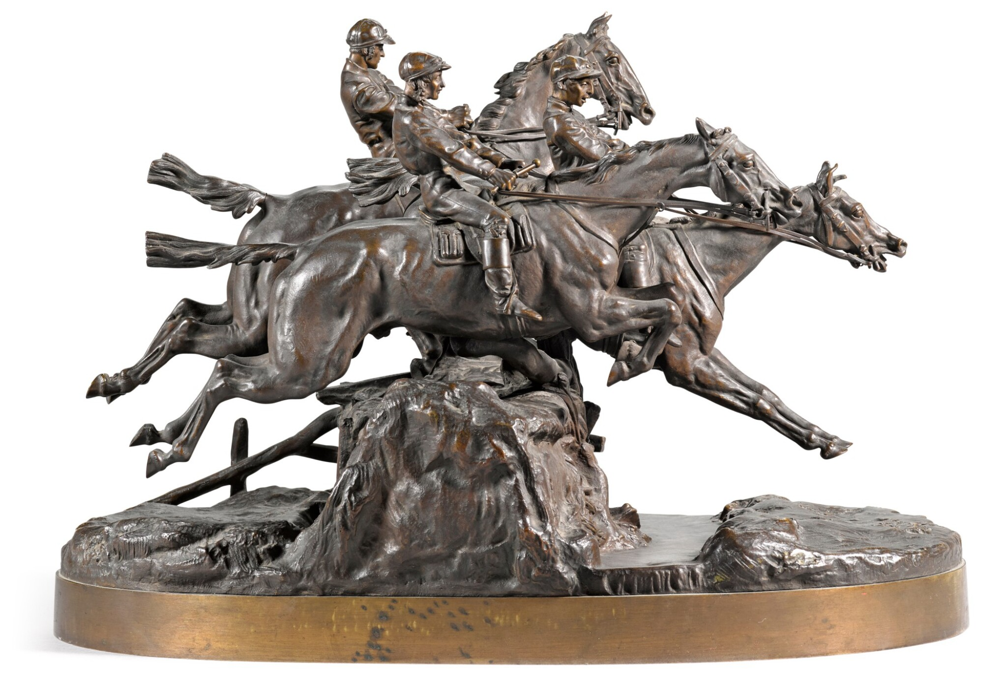 View full screen - View 1 of Lot 292. The Steeplechase: a bronze figural group, cast by Chopin, after the model by Evgeny Lansere (1848 - 1886), 1882.