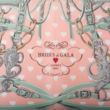 "View 2. Thumbnail of Lot 82. Hermès ""Brides de Gala Love"" Silk Pocket Square Scarf 45cm."