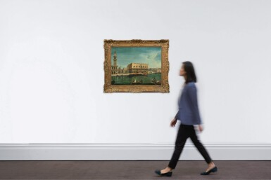 View 4. Thumbnail of Lot 57. Venice, a view of the Molo from the Bacino di San Marco, with the Palazzo Ducale and the Bucentaur.